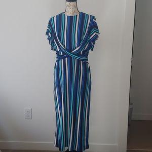 eshakti flutter sleeve striped midi dress size 16